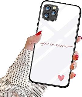 Oihxse Mujer Niña Moda Cover para iPhone 12 Mini Funda Personalizada Nombre Texto Carcasa Anti-rasguños Vidrio Templado Es...