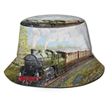 NA Hat Steam Train and Railway Sun Fisherman Cap Outdoor Hat UV Sun Protection Hat Foldable Lightweight Breathable Travel Cap Black