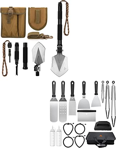new arrival Military Folding Shovel Multitool (C1) +Griddle online sale Accessories Kit for Camp Chef BBQ sale Tools, 17 PCS online sale