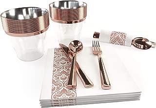 Eglaf 125 Piece Rose Gold Party Set - 25 Rose Gold Plastic Cups 9 oz - 25 Elegant Design Rose Gold Napkins - 25 Rose Gold Plastic Silverware - 25 Guest Rose Gold Party Decorations set