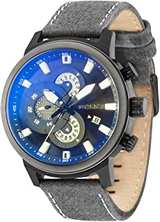 Police Explorer Men Analogue Watch With Black Dial And Grey Leather Strap - PL 15037JSBU-02