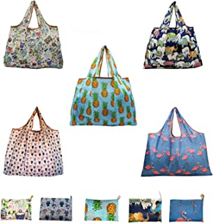 5 Pack Reusable Waterproof Machine Washable Grocery Tote Bag