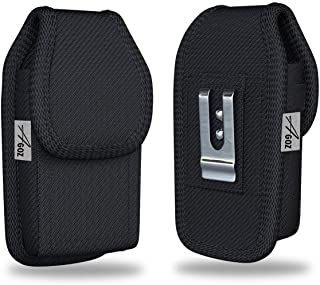 """AGOZ Jitterbug Flip Phone Holster, Vertical Belt Clip Case, Heavy-Duty Canvas Carrying Flip Cell Phone Pouch Rugged Cover with Strong Metal Clip and Belt Loops - 4.3"""" x 2.2"""""""