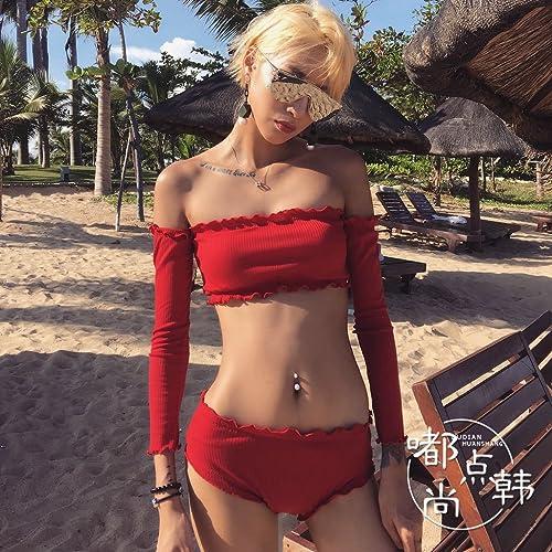 ZZNXYY Mot Rouge écran Solaire Taille Haute Bikini Maillot de Bain Petit Poitrine Rassemblé Soins en Acier Chaude Maillot De Bain