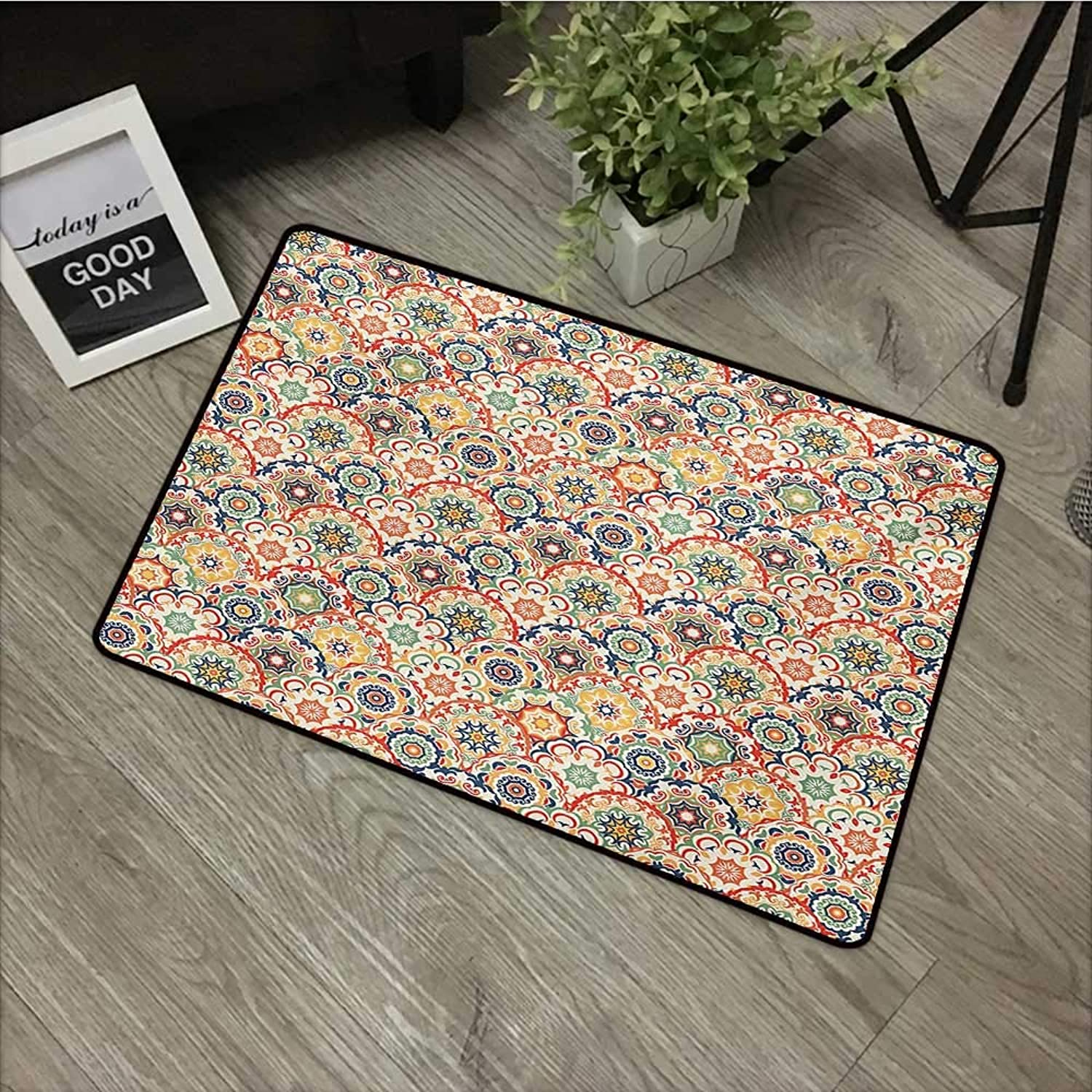 Meeting Room mat W31 x L47 INCH Geometric,Oriental Floral Display in Old Fashioned Traditional Style Textured Craft Motif,Multicolor Easy to Clean, no Deformation, no Fading Non-Slip Door Mat Carpet