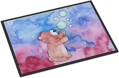 """Caroline's Treasures Bear and Bubbles Watercolor Doormat, 24""""H x 36""""W, Multicolor"""