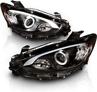 AmeriLite 2013-2016 Black Projector Headlights with Halo for Mazda CX5 Halogen Type (Pair)