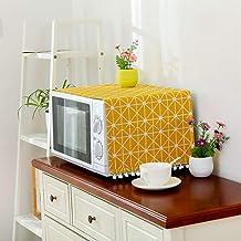 Cubierta de lino de estilo moderno Cubierta a prueba de polvo de microondas Campana de horno de microondas Decoración del hogar Toalla de microondas con bolsa Suministros para el hogar-Amarillo