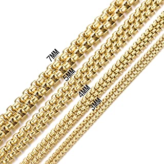 Granny Chic 2-7mm Gold Tone Womens Mens Stainless Steel Rolo Cable Wheat Chain Link Necklace 7-40 Inch