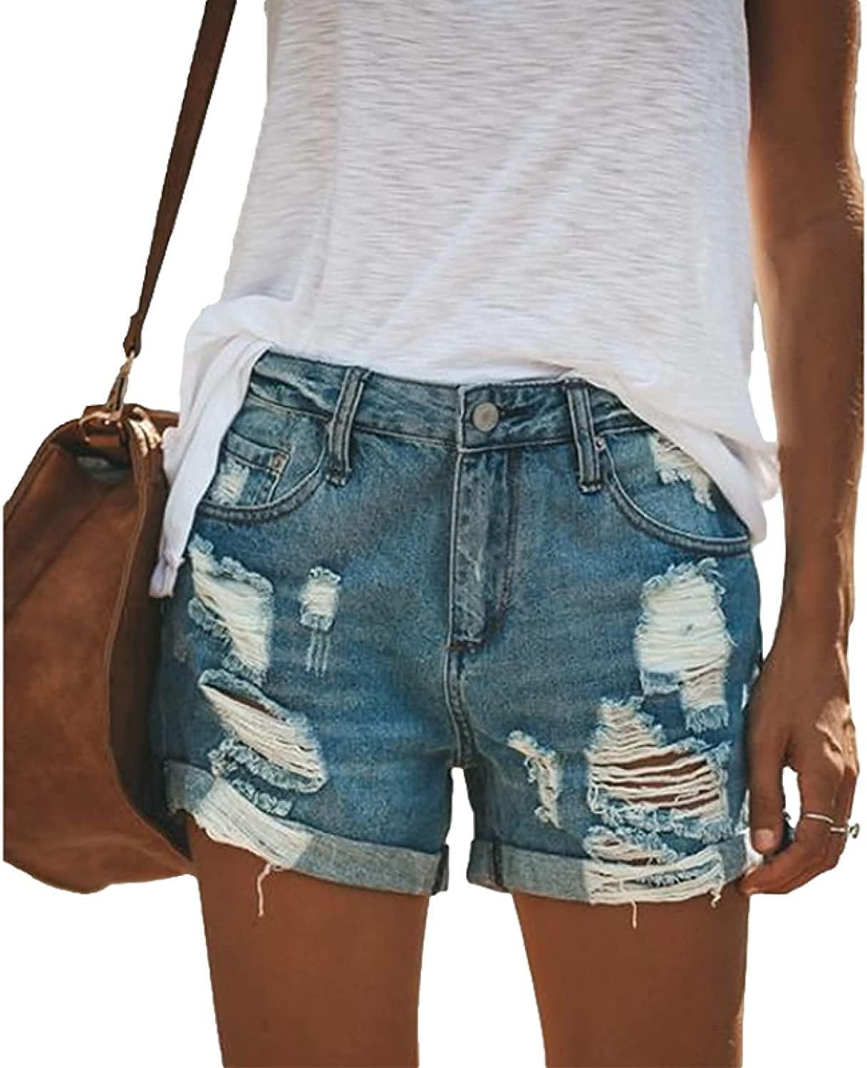 Women's Denim Shorts Fashion Ripped Holes Washed Distressed Casual All-Match