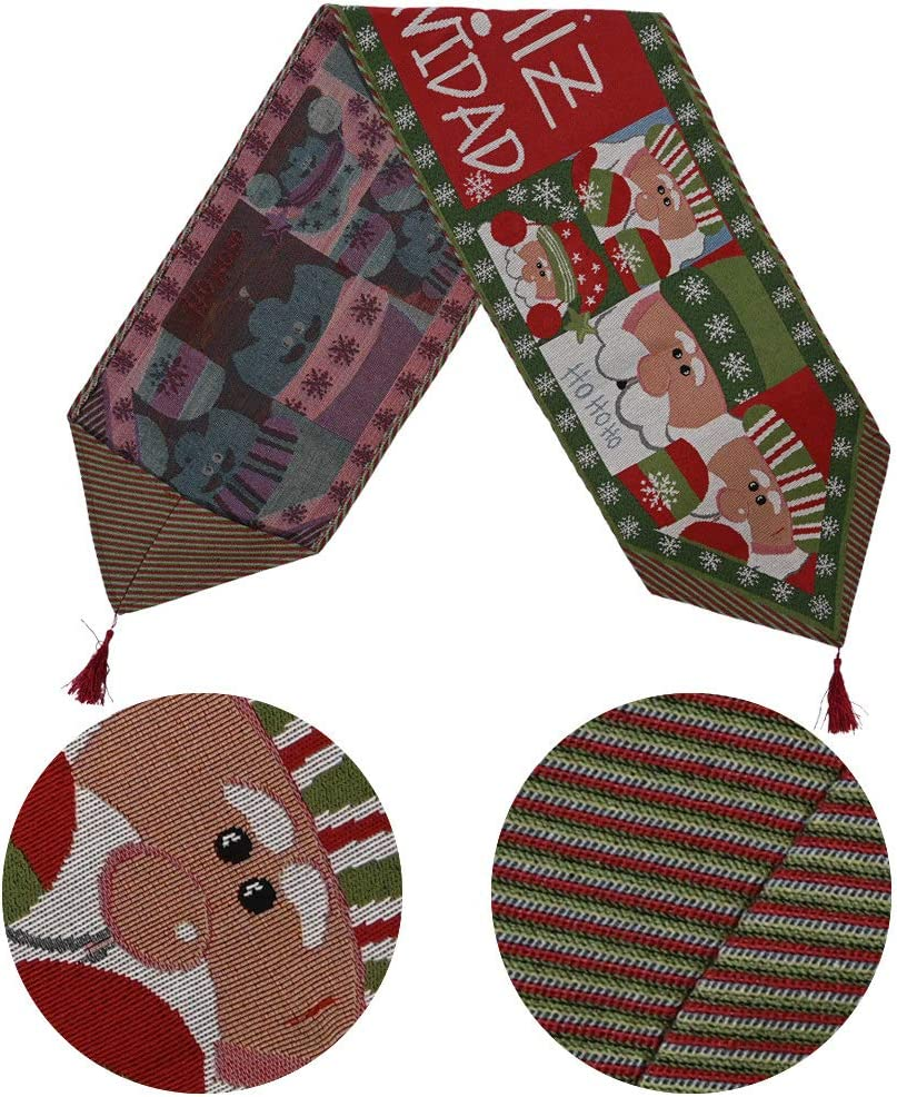 All-4pcs 14x71 Inches Christmas Table Runner Decor,Santa Claus Wreath Elk Small Tree Knitted fabric Embroidered Cotton and Linen Table Runner Perfect for Dinner Parties,Christmas,Wedding,Holidays