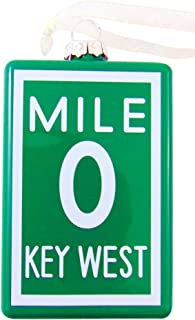 Mile 0 Key West Ornament Christmas Tree Decoration with Hand Painted Mile Marker Zero