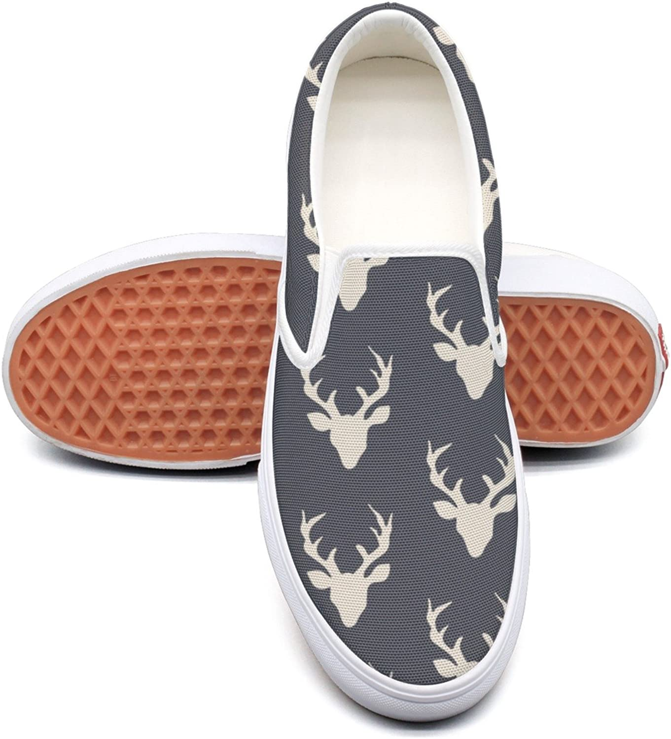 Vintage Forest Deer Head Womens Latest Canvas Boat shoes Low Top Cute Sneakers For Women