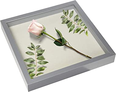 EDGEWOOD Square Shadow Box Picture Frame Linen Background Real Glass Front for Memorabilia, Scrapbooking, Keepsake, 12x12, Gr