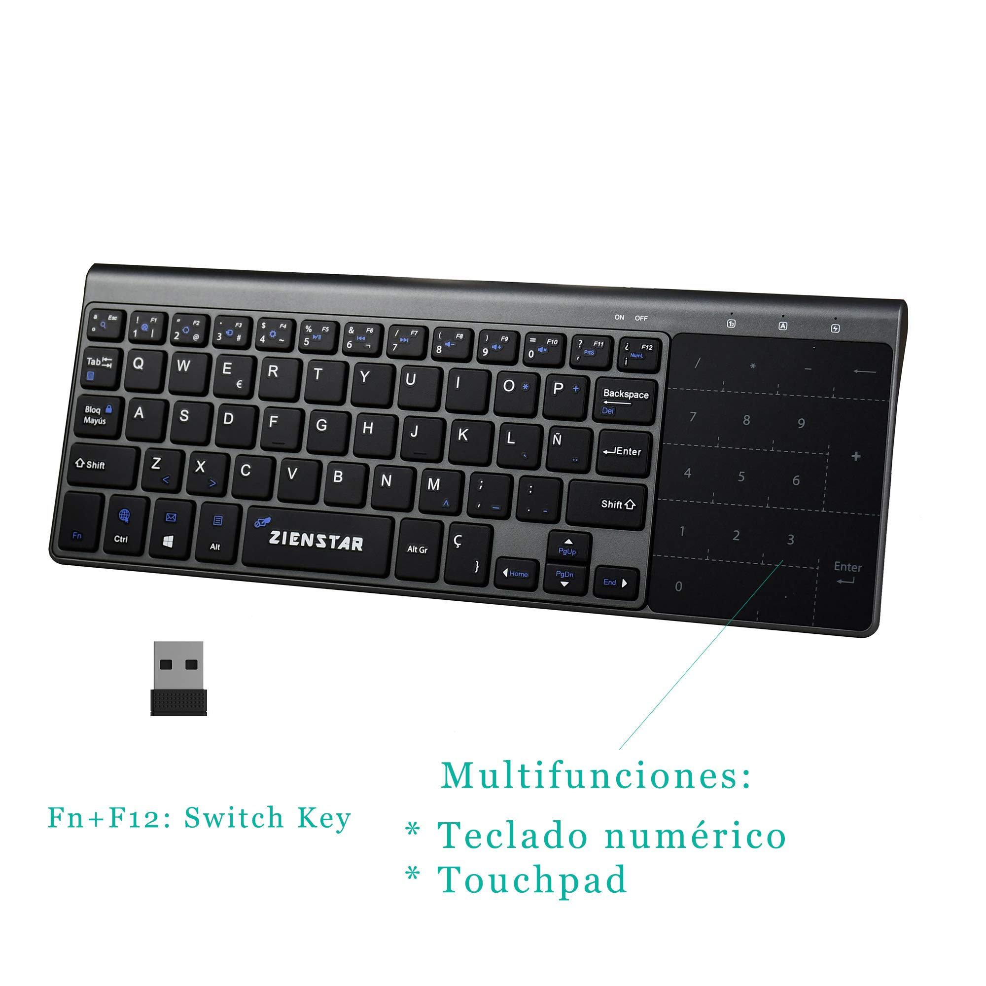 Zienstar-2.4Ghz Mini Teclado Inalámbrico con Touchpad y Teclado Numérico, Receptor USB para Smart TV, Android TV Box, HTPC, IPTV, XBOX360, PS3, PC, etc- Español: Amazon.es: Electrónica