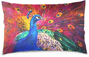 Mydaily Peacock Oil Painting Throw Pillow Case Cotton Velvet Rectangular Cushion Cover 20x26 inch