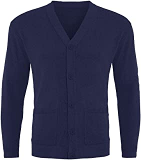 FASHION REVIEW Gimbles® Mens Plain Button Up Knitted Classic Front Pocket Knitted Top Grandad Cardigan