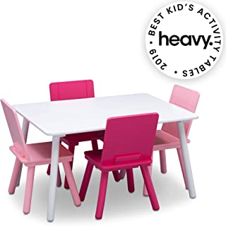 Delta Children Kids Chair Set and Table (4 Chairs Included), White/Pink