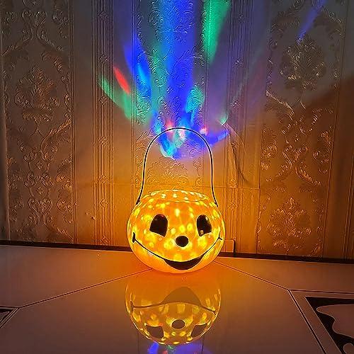 discount Halloween Pumpkin Lantern online Decor Decorative Lamp with Ghost Sound&Colorful Rotating Light Lantern Pumpkin Lignt for Halloween Indoor Outdoor Decoration Halloween Party sale Supplies sale