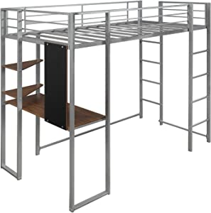 YSKWA Twin Metal Loft Bed with 2 Shelves and One Desk,Silver