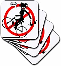 3dRose CST_25054_3 Wardrobe Malfunction Wheelie Hazard 1 on Transparent-Ceramic Tile Coasters, Set of 4