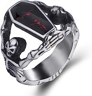 Elfasio Skull Rings for Men Stainless Steel Gothic Vampire Bloody Red Enamel Coffin Bike Jewelry Size 8-14