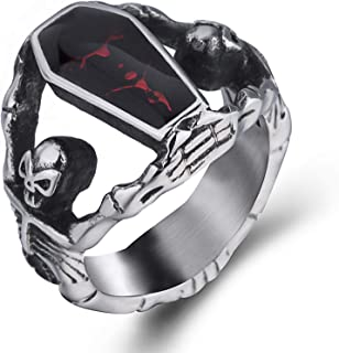 Elfasio Skull Rings for Men Stainless Steel Gothic Vampire Bloody Red Enamel Coffin Bike Jewelry Size 8-14