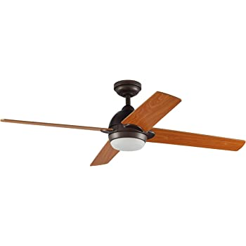 Amazon Brand – Stone & Beam Modern Indoor Remote Control Ceiling Fan With Integrated LED Light - 52 x 52 x 8.94 Inches, Aged Bronze