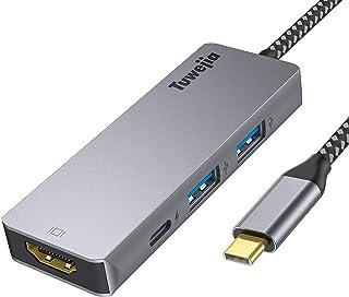USB Type c アダプタ マルチポート Tuwejia タイプc ハブ 4K 解像度 hdmiポート+USB 3.0ポート*2 高速データ転送+USBタイプC高速PD充電ポート 4-in-1 変換 アダプター MacBook Pro/Ma...