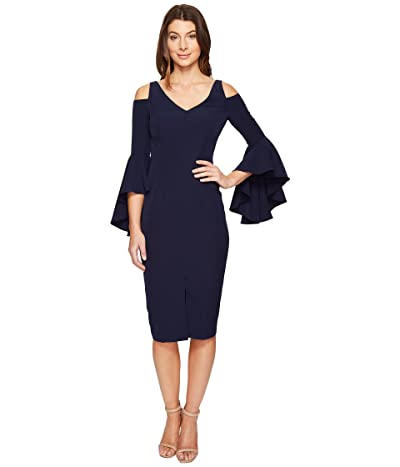 Maggy London Cold Shoulder Sheath Dress with Ruffle Sleeve (Patriot Blue) Women