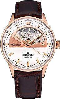 EDOX - Les vauberts Open Heart Reloj para Hombre Analógico de Automático Suizo con Brazalete de Piel de Vaca 85019-37R-AIR