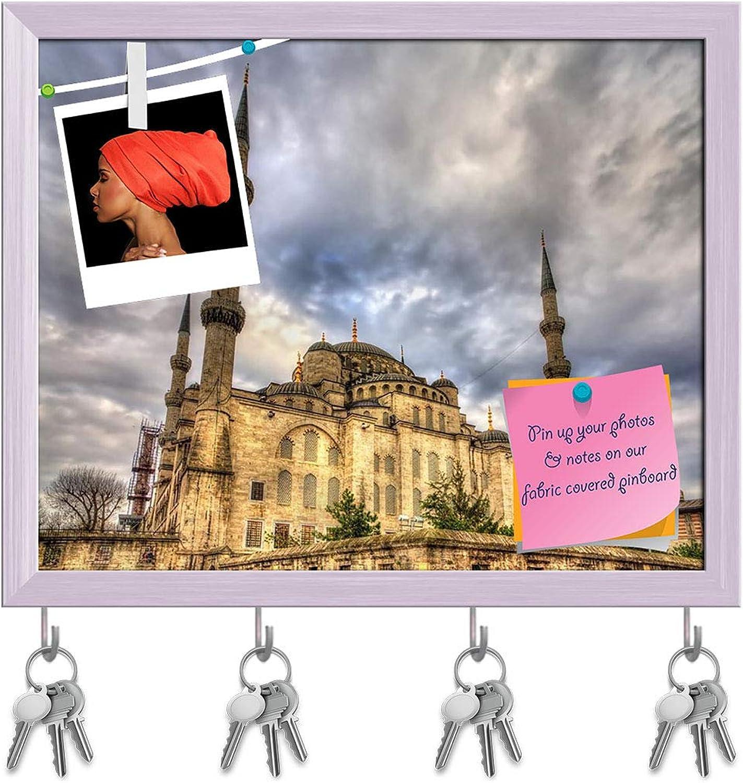 Artzfolio Sultan Ahmet Mosque in Istanbul, Turkey Key Holder Hooks   Notice Pin Board   White Frame 19.8 X 16Inch