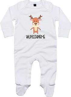 Kleckerliese Baby Schlafanzug Strampler Schlafstrampler Sprüche Jungen Mädchen Motiv Tiere Elch REH Hirsch Wunschname Name Wunschtext