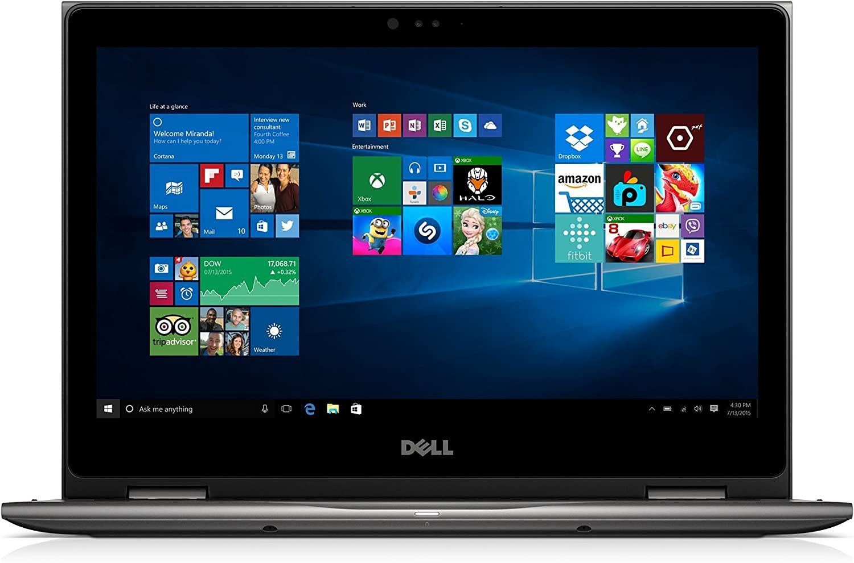 Dell i5368-10024GRY 13.3in FHD 2-in-1 Laptop (Intel Core i7-6500U 2.5GHz Processor, 8 GB RAM, 256 GB SDD, Windows 10 Microsoft Signature Image) Gray (Renewed)