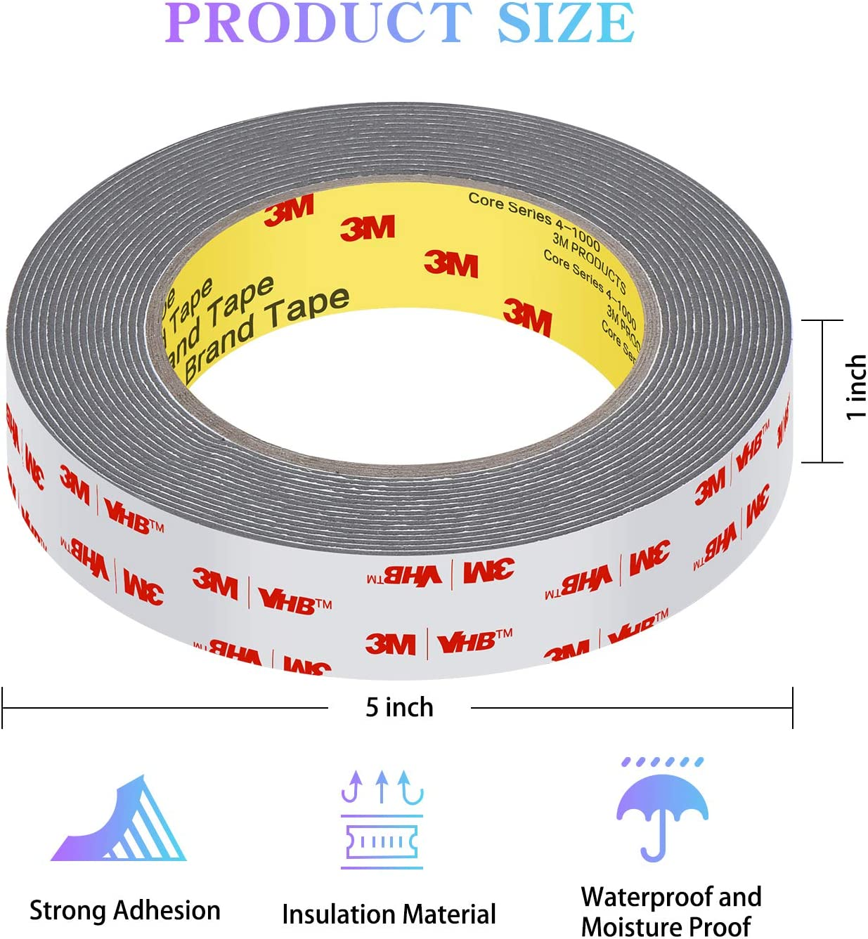 Easy Peel Strong Adhesive 3M Foam Tape 32FT Length,1.1mm Thickness,0.5inch Width,Waterproof Mounting Tape for Car Home and Office Decor 3M Heavy Duty Double Sided Tape