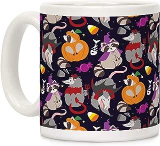 LookHUMAN Trashy Animals Halloween Pattern White 11 Ounce Ceramic Coffee Mug