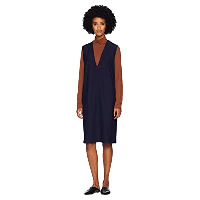 Eileen Fisher Washable Stretch Crepe Deep V-Neck Dress (Midnight) Women