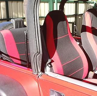 GEARFLAG Neoprene Seat Cover Custom fits Jeep Wrangler YJ 1987-96 Full Set (Front + Rear Set) (Red/Black)