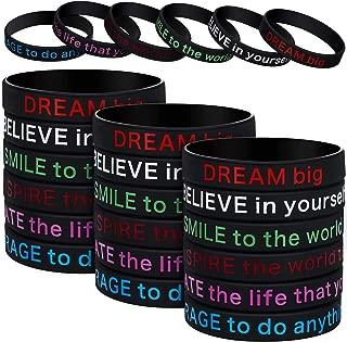 48 Pieces Silicone Bracelets Black Inspirational Silicone Wristbands Motivational Rubber Stretch Bracelets for Men Women
