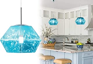Modern Acrylic Island Pendant Lighting Fixtures Lava Irregular Shape Contemporary Mirror Hanging Ceiling Lights 1-Light Foyer Chandelier for Living Dining Room Blue by Bewamf