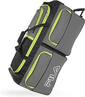 Fila 7-Pocket Large Rolling Duffel Bag, Grey/Neon Lime, One Size