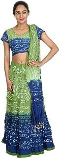 Blue Cotton Casual Women's Bhandej Lehnga