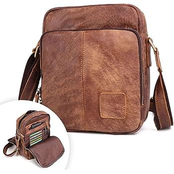 New Genuine Leather Real Cowhide Retro Men Messenger Shoulder Cross Body Bag