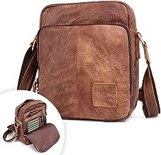 BAIGIO Men Vintage Messenger Bag, Nubuck Genuine Leather Cross-Body, Small Casual Shoulder Purse, Unisex Satchel
