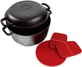 Uno Casa Cast Iron Dutch Oven with Lid - 2 in 1 Camping Set, Pre-Seasoned 5 Quart Pot and 1.6 Quart Pan - 2 Silicone Handl...