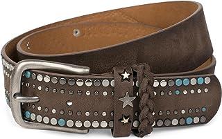 cinturón de remaches de un material suave con tachuelas y remaches en forma de estrella, elemento trenzado en el cierre, cinturón «vintage», unisex 03010073