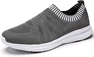 QIUYIXI Men's Slip On Walking Shoes Lightweight Causual Running Sneakers Gray 10