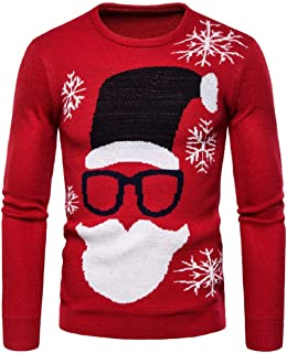 VEKDONE 2019 New Mens Ugly Christmas Sweater Santa Claus Snowflake Patterns Casual Slim Knitted Pullover Sweater Tops