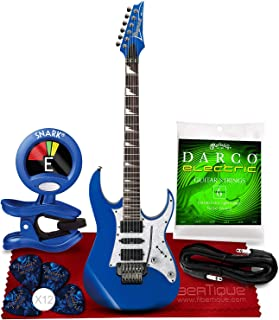 Ibanez RG450DX RG Series Electric Guitar (Starlight Blue) + Blue Clip-On Chromatic Tuner, Guitar Strings, Fender Guitar Picks, Cable and Fibertique Microfiber Cleaning Cloth