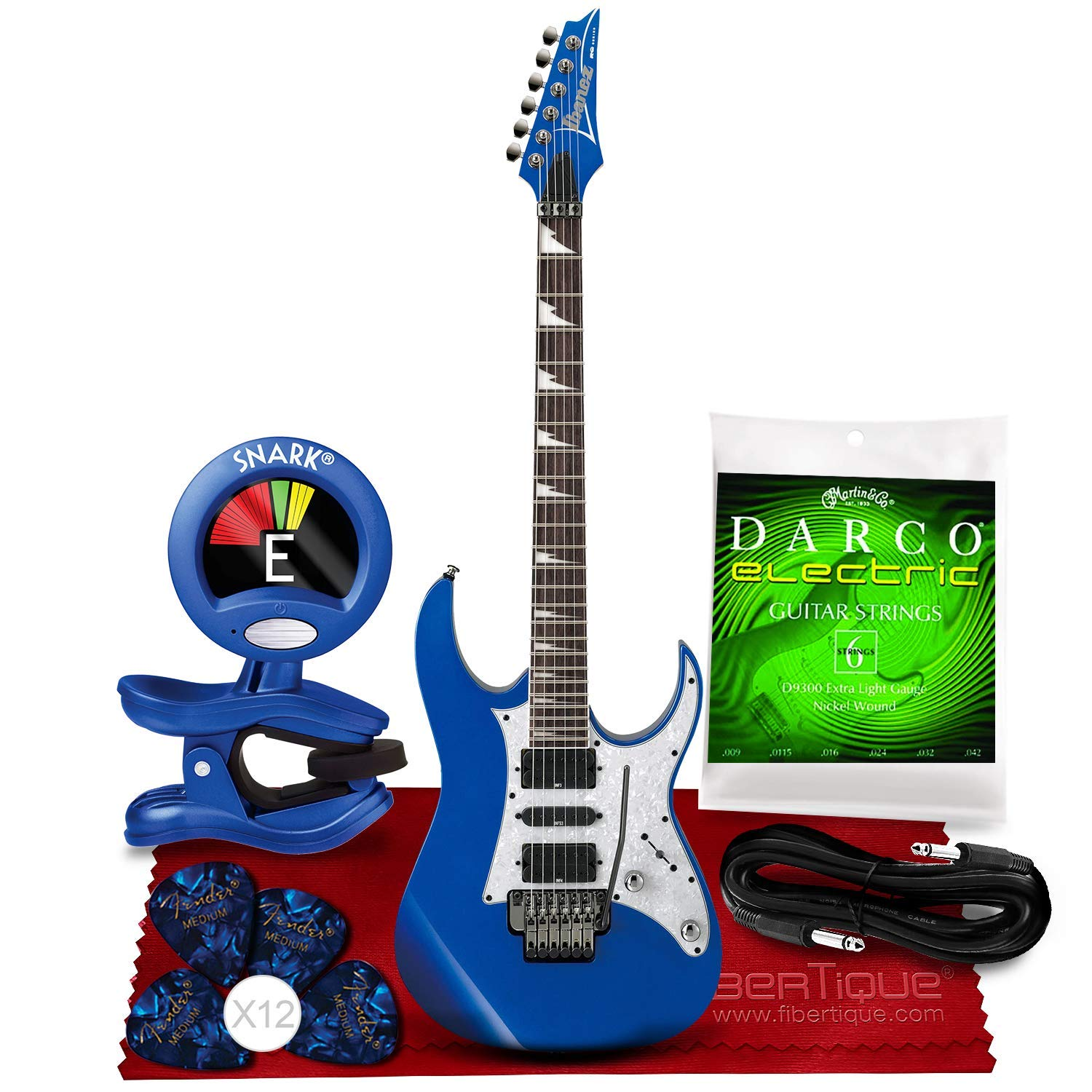 Cheap Ibanez RG450DX RG Series Electric Guitar (Starlight Blue) + Blue Clip-On Chromatic Tuner Guitar Strings Fender Guitar Picks Cable and Fibertique Microfiber Cleaning Cloth Black Friday & Cyber Monday 2019